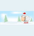 sheep christmas mascot cartoon banner background vector image