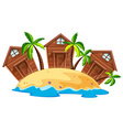 Three bungalows on island vector image