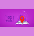 travel with red pin and stamp back to vector image