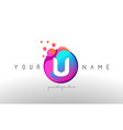 u dots letter logo with bubbles a letter design vector image vector image