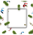 white christmas square background with serpentine vector image vector image