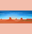wide panorama monument valley landscape vector image vector image