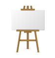 Wooden easel with blank canvas on white background vector image