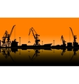 Working cranes unload cargo in seaport vector image vector image