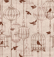 Seamless pattern with birds and cage vector image