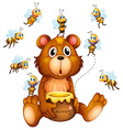 Bear and bees vector image
