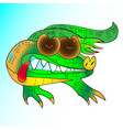green cartoon crocodile at the white background vector image