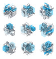 abstract 3d shapes compositions isometric vector image vector image