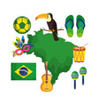 brazilian map with culture icons vector image