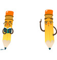 cartoon humanized pencil in cap and glasses vector image vector image