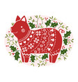 christmas stylized image of a pig in the green vector image