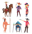 cowboys characters wildlife western texas sheriff vector image