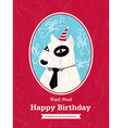 cute bull terrier dog cartoon birthday card design vector image