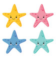 cute colorful starfish set in white background vector image