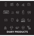 diary products editable line icons set on vector image