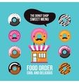 Donut icons Delicious dessert Food ordering Cafe vector image vector image