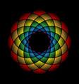 dots mandala rainbow on black vector image vector image