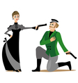 Duel between man and woman vector image vector image