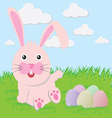 Easter bunny playful with painted eggs vector image vector image