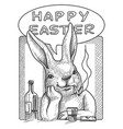 easter bunny with bottle and glass comic style vector image vector image