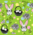 easter rabbits and eggs vector image vector image