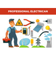 electrician profession infographics poster vector image vector image