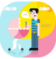 father and daughter in a stroller vector image