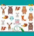 find one animal of a kind game for kids vector image vector image