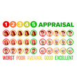 five steps mood appraisal icons set vector image