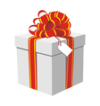 Gift box with red and golden ribbon vector image vector image