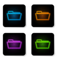glowing neon folder icon isolated on white vector image vector image