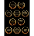 golden laurel wreaths for quality guarantees label vector image vector image