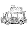 Hand drawn doodle outline surf bus volkswagen vector image vector image