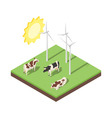 Isometric 3d of windmill and cows vector image vector image