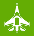 jet fighter plane icon green vector image