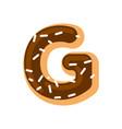 letter g donut font doughnut alphabet sweet vector image