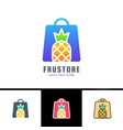 phrase fresh fruits card with woman bag decorated vector image vector image