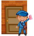 postman delivering letter at the door vector image