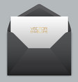 realistic black envelope with white card inside vector image vector image