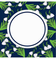 round card on a pattern of snowdrops on a dark vector image vector image