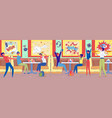 school children meeting in cinema house snack bar vector image vector image