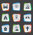 set of simple faith icons elements orison temple vector image vector image