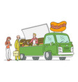 sketch hotdog van in vintage style vector image