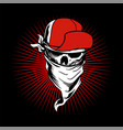 skull wearing cap and bandana hand drawingshirt vector image