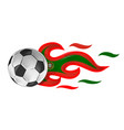 soccer ball on fire with portugal flag vector image vector image