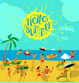 summer beach people set tropical background with vector image vector image