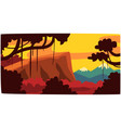 sunset in tropical jungle greenwood background vector image