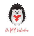 valentines day card with hedgehog vector image vector image