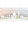 venice italy city skyline in paper cut style with vector image