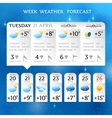 Week weather forecast report layout vector image vector image